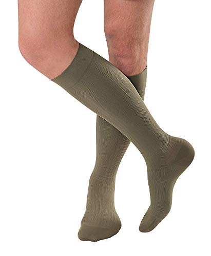 JOBST forMen Ambition Knee High 20-30 mmHg Ribbed Dress Compression Socks, Closed Toe, 4 Long, Khaki ()