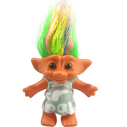 Yintlilocn Lucky Troll Dolls,Vintage Troll Dolls Chromatic Adorable for Collections, School Project, Arts and Crafts, Party Favors - 7.5 Tall Green(Include The Length of Hair)