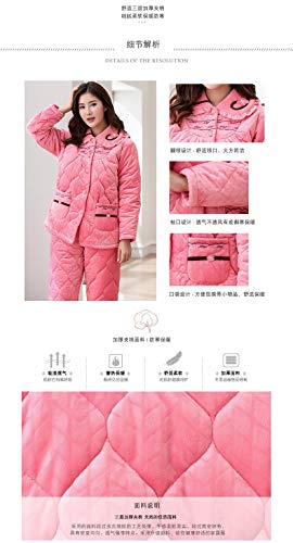 Coral Xxl164 Winter Long Home sleeved Hooded Suit Pajamasx 75kg 172cm Cotton Thick Pajamas layer Velvet 65 Women's Three Cute Service X5xwnR1qaf