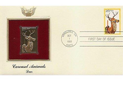 1988 CAROUSEL ANIMALS DEER FDC FDI 22kt Gold GOLDEN Cover Replica -