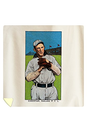 Oakland Pacific Coast League - Christian - Baseball Card (88x88 Queen Microfiber Duvet Cover) by Lantern Press