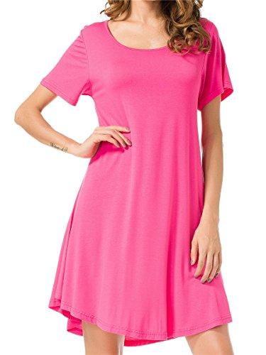 Jollielovin Womens Tunic Top Casual Short Sleeve Swing Loose T Shirt Dress  Rosepink  1X