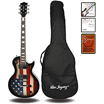 Leo Jaymz electric guitar Single cut curved top style with US Flag and Grover machine heads