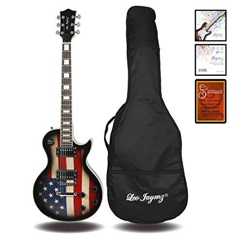Leo Jaymz Single cut curved top GROVER machine heads Electric guitar full size with flag sticker design with high gloss color, include soft bag and extra Jaymz Light String set with Colorful Ball End