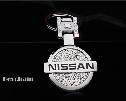 Rhinestones Bling Premium High quality Metal Alloy Car Key Chain Crystals Double Sided Keychain with Gift Box (Nissan)