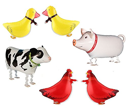 Ovee Lando Set of 6 Walking Farm Animal Helium Balloon Pet Air Walkers, Mixes Pet Party
