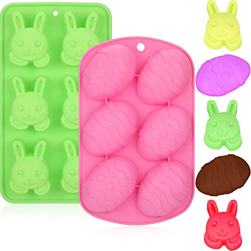 Jovitec 2 Pieces Easter Chocolate Molds Bunny Eggs Candy Cookie Mould Silicone Baking Mold for Easter Party