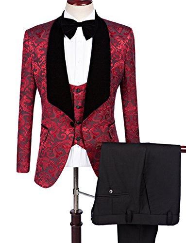 YSMO Men's One-Button Designer Luxurious Suits Plaid Tuxedos 3-Piece (Men Designer Suits)