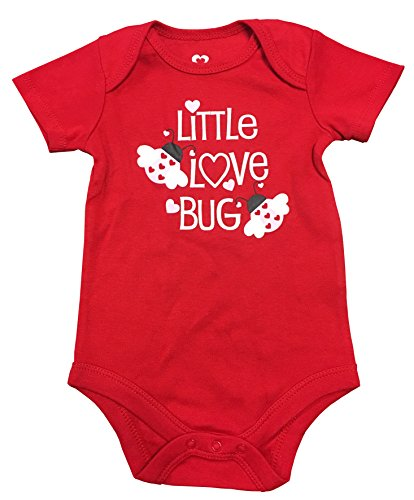 Valentines Day Love Bug - Assorted Love & Heart Boys & Girls Valentines Day Bodysuit Dress Up Outfit (12 Months, Red Little Love Bug)
