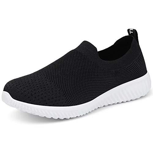 LANCROP Women's Walking Nurse Shoes - Mesh Slip on Comfortable Sneakers 7.5 US, Label 38 Black (The Best Sneakers For Nurses)