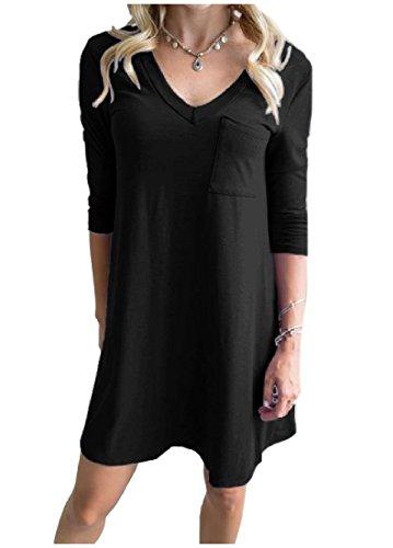 Pull Col V Confortable Femmes Manches 3/4 Robe Tunique Poche Pleine De Noir