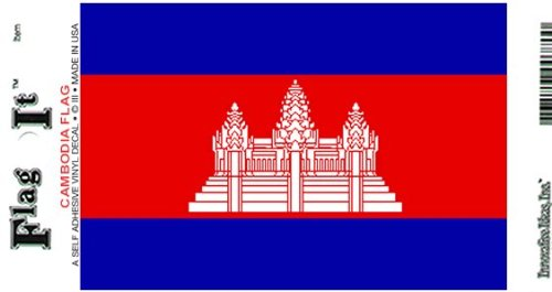 (Cambodia flag decal for auto, truck or boat)