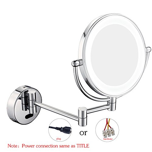 GuRun Wall Mount Sensor Mirror Sensor-Activated Lighted Vanity Mirror,5x Magnification,8 inches,Chrome Finish M1803D(8in,5x)