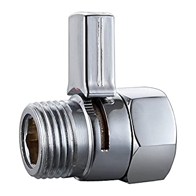 Weirun Brass Shower Flow Control Valve Water Pressure Reducing Controller Hand Held Sprayer Head Supply Shut Off Stop Switch Universal Replacement Part, Long Lever Handle Polished Chrome