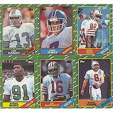 1986 Topps Football Complete Near Mint to Mint Hand Collated 396 Card Set. Loaded with Rookie Cards Including Jerry Rice, Steve Young, Reggie White, Boomer Esiason, Andre Reed, Bruce Smith and Others. Tons of Other Stars and Hall of Famers Including Dan Marino, Joe Montana, John Elway, Walter Payton, Marcus Allen, Warren Moon and More!