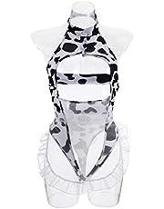 HEALLILY Sexy Meid Kostuum Een Stuk Outfits Melk Koe Afdrukken Ondergoed Voor Vrouwen Sexy Cosplay Slipje Sets Voor Vrouwen Dame Rollenspel Kostuum Wit