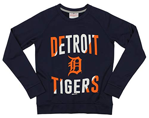 Outerstuff MLB Tigers Boys 8-20 Performance Fleece Crew Neck LS TOP 8-S Detroit Tigers Youth Fleece Pullover