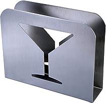Stainless Steel Serviette Napkin Holder Dispenser - Cocktail Wine Glass Design for Kitchen and Restaurants by Pro Chef Kitchen Tools