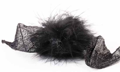 Collection of 6 Fluffy Feathered Fuzzy Black Bats with Wire for Halloween Decorating