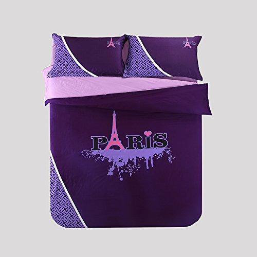 Cliab Paris Bedding Purple Queen 100% Cotton Duvet Cover set 4 Pieces