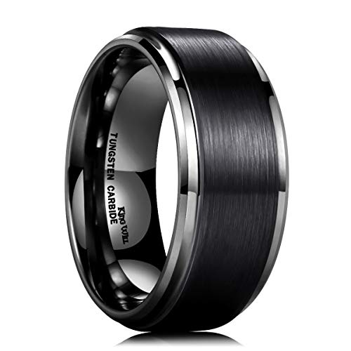 King Will 10mm Black Tungsten Carbide Ring Men Wedding Band Matte Finish Step Edge Comfort Fit(13)