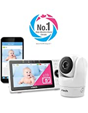 """VTech VM901-1W WiFi Video Baby Monitor with Free Live Remote Access, 108, White0p Full HD Camera, 5"""" Screen, Pan Tilt Zoom, HD Night Vision, 2-Way Audio Talk, White, 1 Count"""