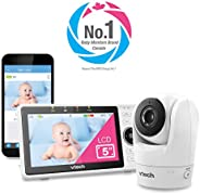"""VTech VM901-1W WiFi Video Baby Monitor with Free Live Remote Access, 108, White0p Full HD Camera, 5"""" Scre"""