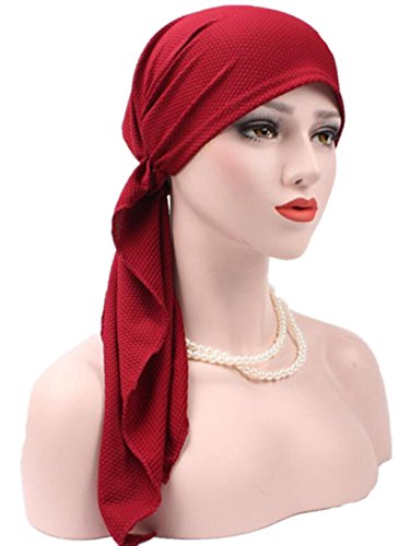 Kixing TM Women India Muslim Stretch Turban Hat Cotton Hair Loss Head Scarf (Wine) - Muslim Costume For Female