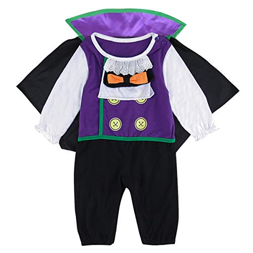 COSLAND Baby Boys Vampire Halloween Costume Romper with Cloak (Vampire, 9-12 Months)]()