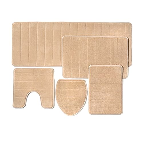 5 Pieces Set Memory Foam Bathroom Rug Mat Extra Soft Non-Slip Back (Beige) by Come On Style Shop