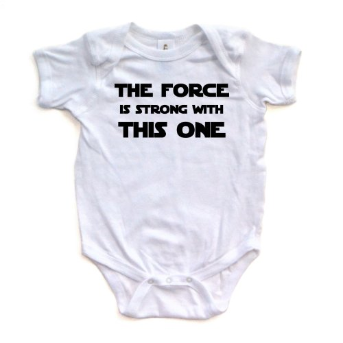 Cute Funny Nerd Geek Humor The Force is Strong With this One Soft Baby Bodysuit White, 6 Months,White