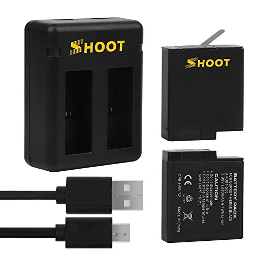 Shoot 1220mAh 2-Pack Replacement Battery USB Dual Charger for GoPro Hero 6/Hero 5/Hero(2018) Black Camera Accessories (Compatible with Firmware v01.50, v01.55, v01.57,v02.00 and v02.51) by SHOOT