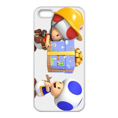Super Mario Maker 1 coque iPhone 5 5s cellulaire cas coque de téléphone cas blanche couverture de téléphone portable EEECBCAAN06873