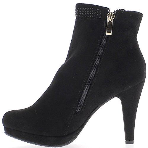 Negro botas de ante de tacón 10cm doble aspecto