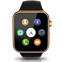 Lincass Bluetooth Smartwatch for Iphone and Android Heart Rate Monitor Wristwatch Smart Men Watches Heathy Fitness Sleep Tracker Waterproof for iPhone 6s Samsung Note 5 Xiaomi Huawei (Gold)