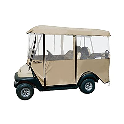 TOMSHOO 4-Sided Golf Cart Cover Enclosure, with Carry Bag, for 4-Person Fairway Golf Car
