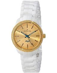 Invicta Womens 14909 Ceramics Gold Dial White Ceramic Watch