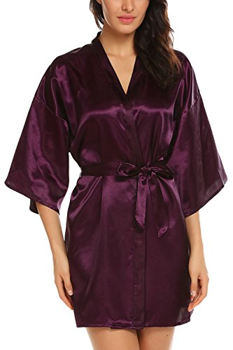 Avidlove Women's Kimono Robe Satin Lounge Bridesmaids Short Style Dark Purple XXL by Avidlove