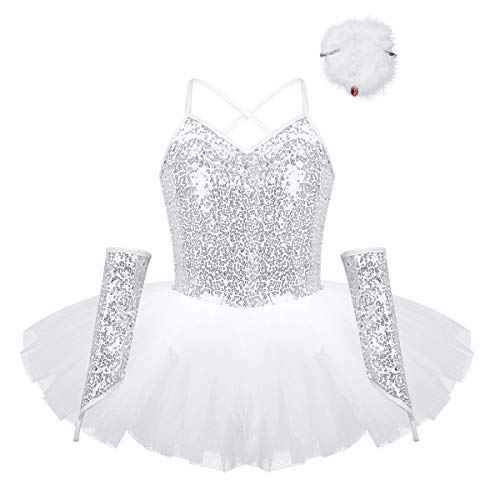 YiZYiF Girls' Swan Lake Costumes Princess Sequined Dance Tutu Ballet Dress Leotard with Arm Sleeves Hair Clip Zipper White - Leotard Neckline Dance Pinched