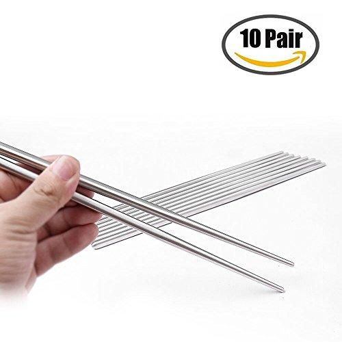 UPC 603149865310, 10 Pairs Chopsticks 304 Stainless Steel Anti-skid Anti-hot design vacuum chopsticks