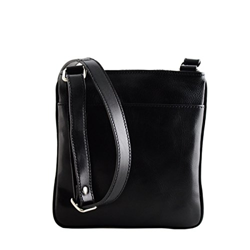 Man Tuscan Color Made Bag Crossbody Italy In Black Genuine Leather wfPPUpzHFq