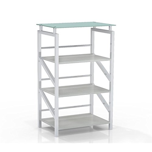 Mayline 1007WW SOHO Glass Top Bookcase, 4 Shelf, Textured White Laminate (Soho Glass Shelf)
