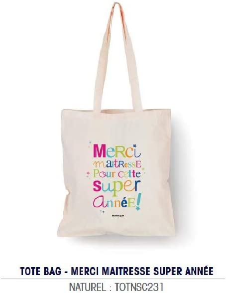 Bubble Gum – Tote Bag Naturel Merci Maestresse para Este Super año ...