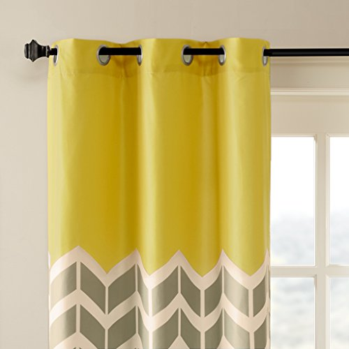 Intelligent Design Yellow Curtains for Living Room, Modern Contemporary Grommet Room Darkening Curtains for Bedroom, Alex Geometric Chevron Window Curtains, 42X63, 2-Panel Pack -