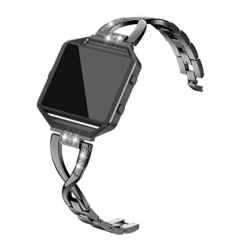 TOYOUTHS Metal Bands with Frame Compatible Fitbit Blaze, X-Link Rhinestone Replacement Accessory Straps Smart Watch Wrist Bands for Women