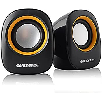 Earise AL-101 3.5mm Mini Computer Speakers, Powered by USB (Black)