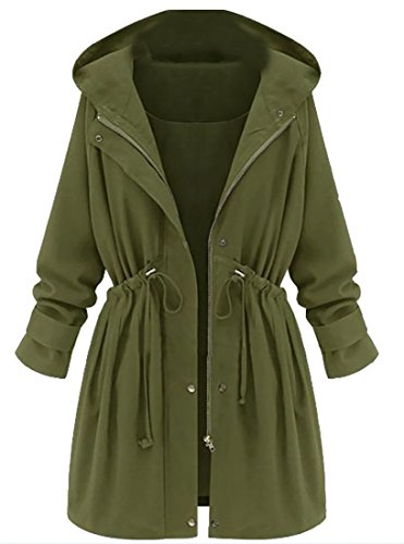Pleated Trench - Fulok Womens Outwear Hooded Waist Drawstring Pleated Trench Coat Jacket Army Green XXL