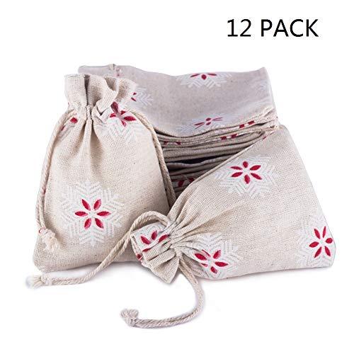 Yunko 12 Pack Snowflake Natural Burlap Cotton Drawstring Gift Bags for Christmas DIY Craft Wedding Party -