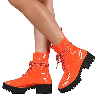 93d5397c8 Cape Robbin Dashing Orange Lug Sole Lace Up Chunky Platform Ankle Combat  Boot (7)