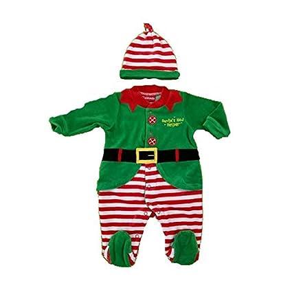 Pelele bebé/niño chenilla Navidad Elfo a rayas